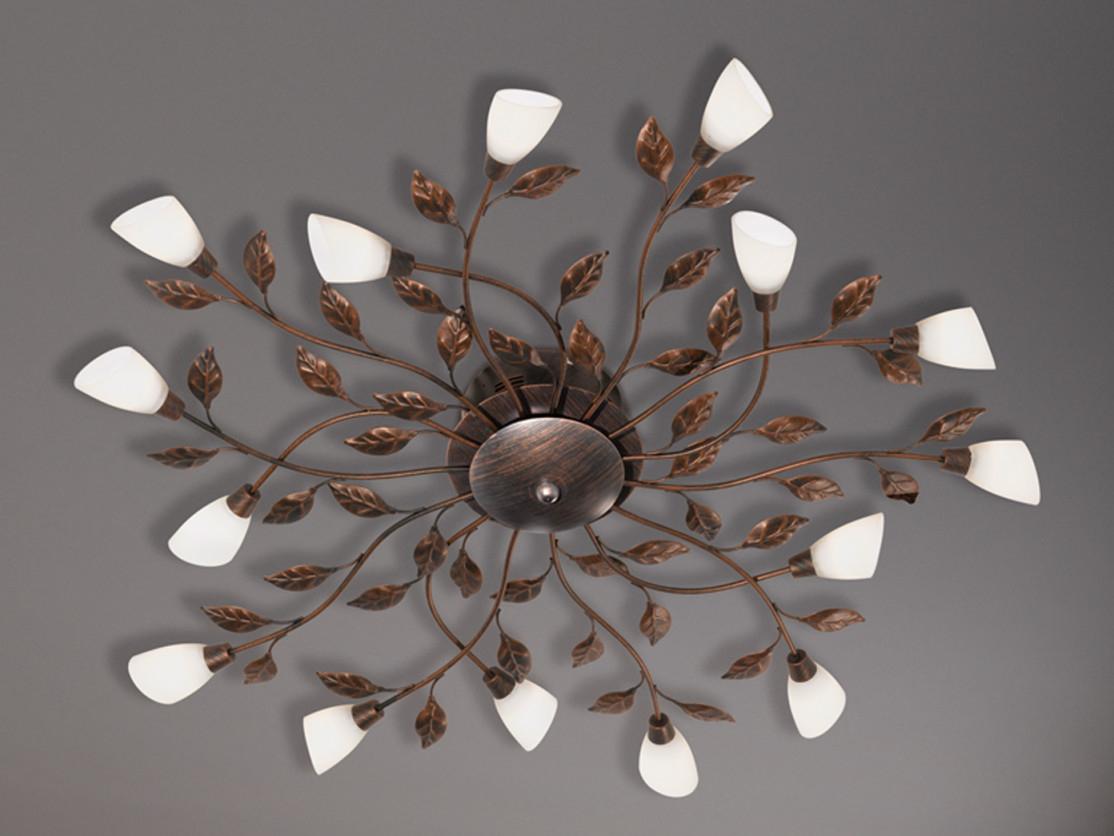 Runde Große Florentiner Led Deckenleuchte 80Cm Mit Blättern Rost Für  Wohnzimmer von Große Deckenleuchte Wohnzimmer Bild