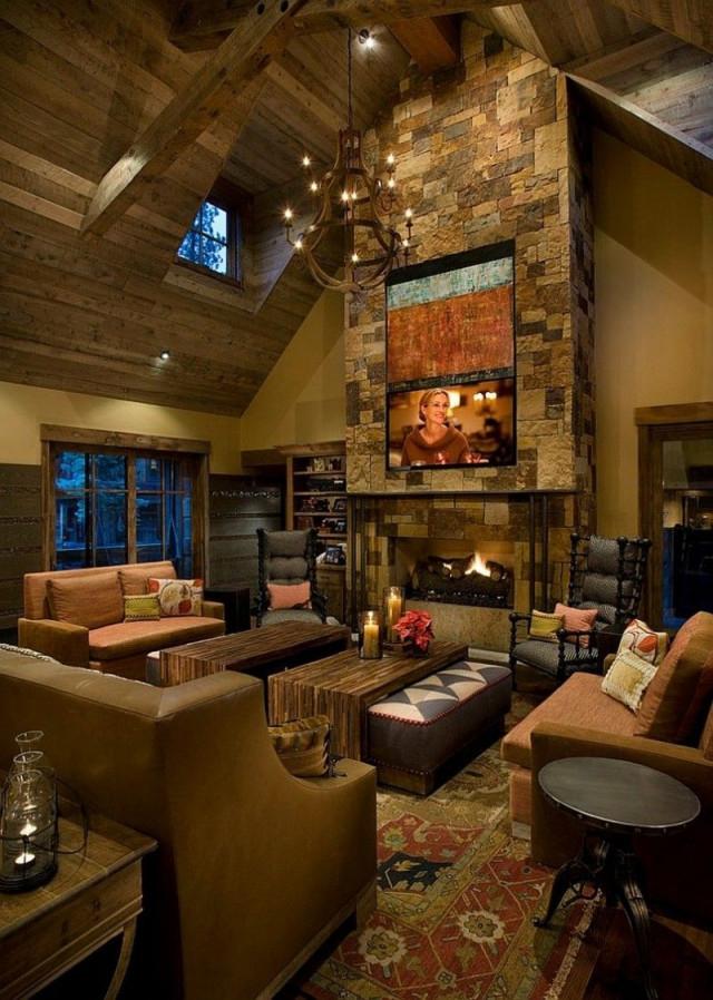 Rustikale Dekoration 36 Ideen Von Gemütlichen Zimmern von Rustikales Wohnzimmer Ideen Bild