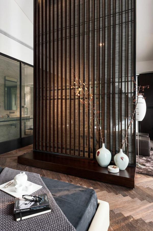 Schick Elegant Raumteiler Trennwand Holz Braun  Haus von Moderne Trennwände Wohnzimmer Photo