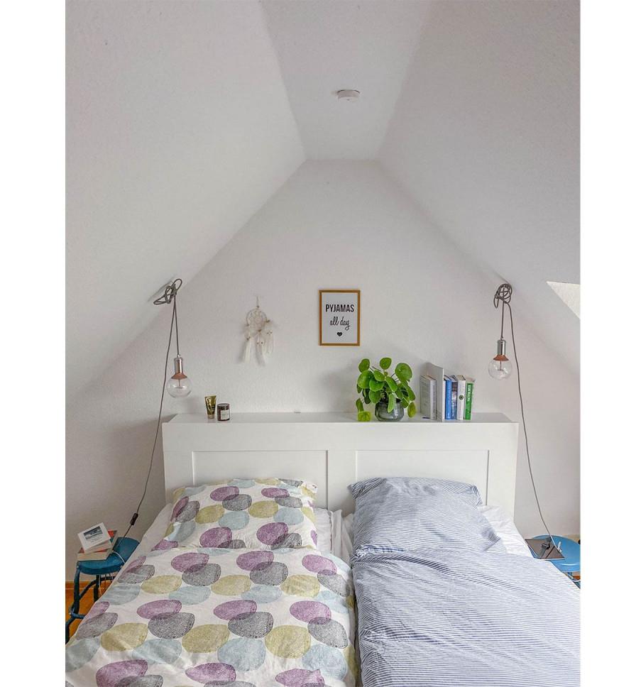 Schlafzimmer Dachschräge  Co Gestalten  Wohnklamotte von Kleines Wohnzimmer Mit Dachschräge Einrichten Bild