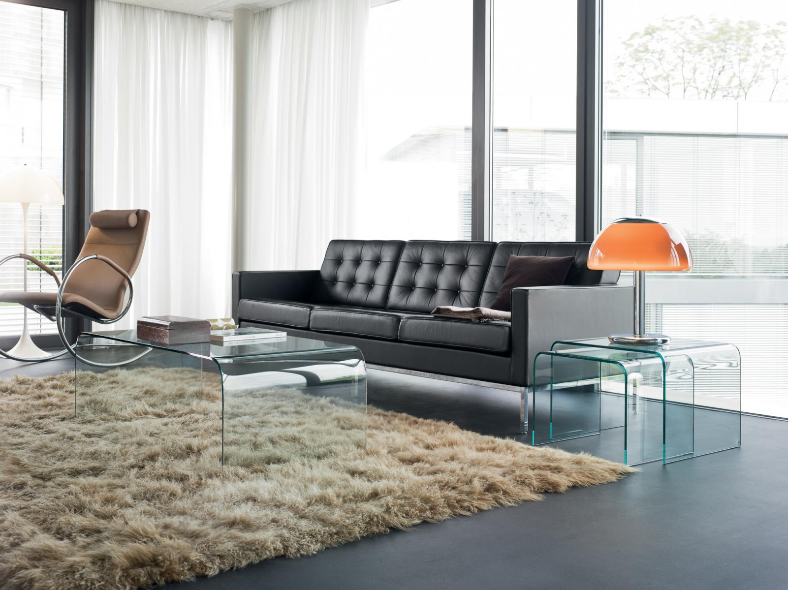 Schwarzes Ledersofa • Bilder  Ideen • Couch von Schwarzer Teppich Wohnzimmer Bild