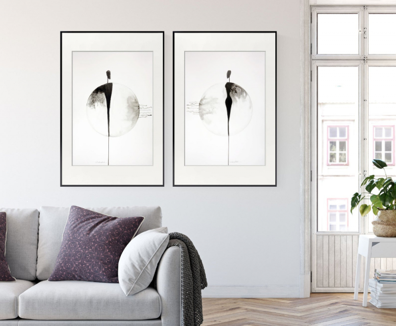 Set Of 2 Artworks Original Abstract Painting Blackwhite von Bilder Set Wohnzimmer Photo