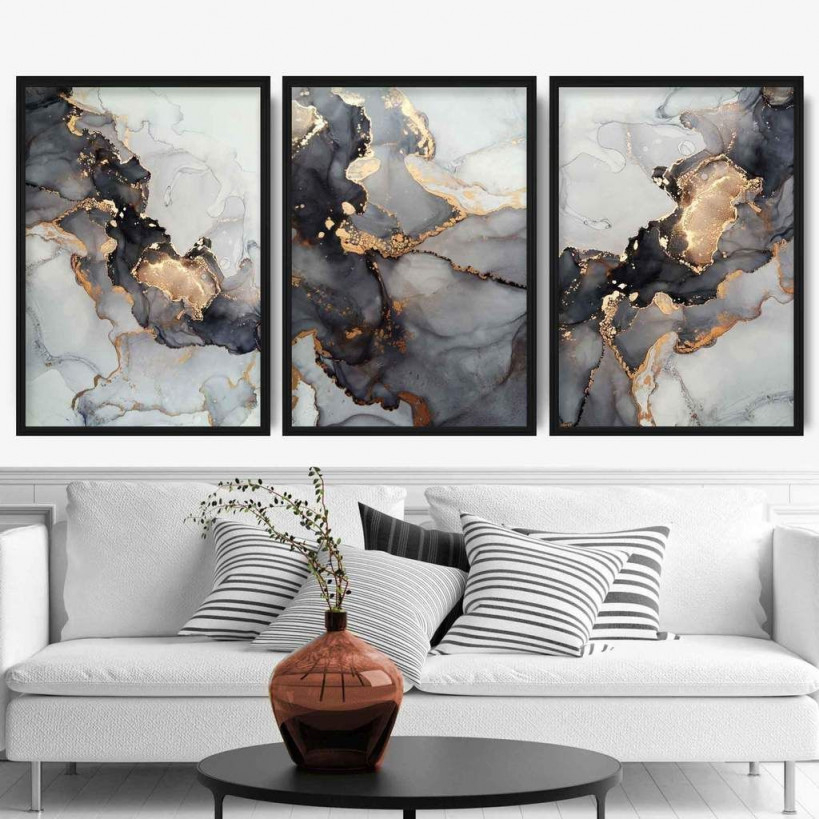 Set Of 3 Abstract Art Prints Of Paintings Black Grey And von Bilder Set Wohnzimmer Bild