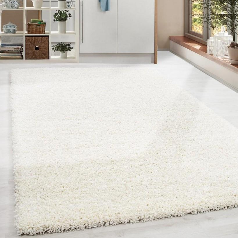 Shaggy Hochflor Langflor Teppich Soft Wohnzimmerteppich Einfarbig Cream  Creme von Wohnzimmer Teppich Creme Photo