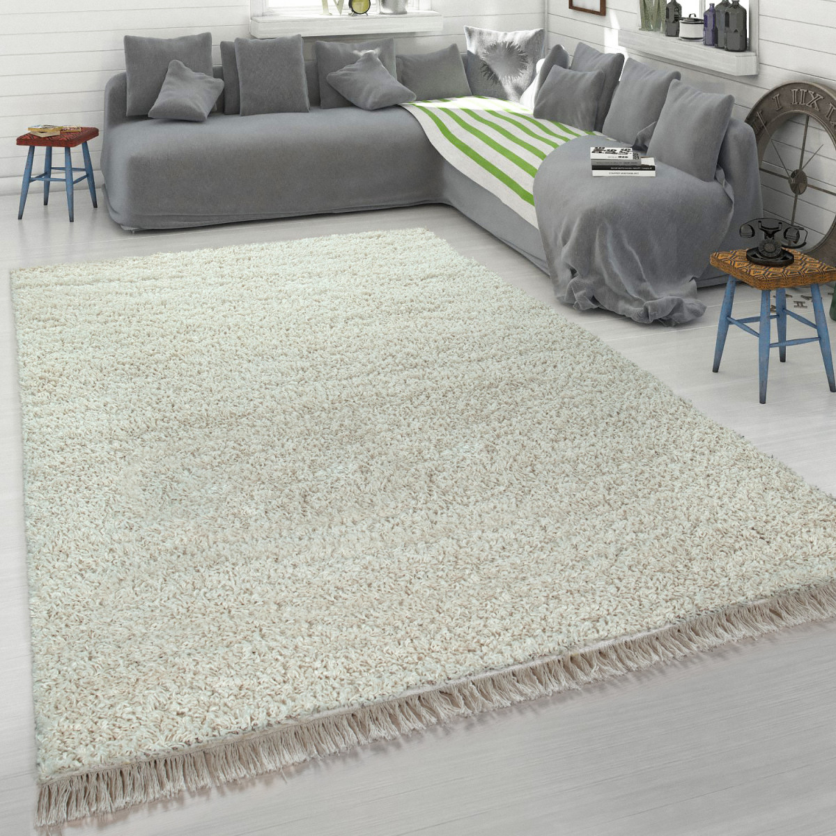Shaggy Teppich Beige Wohnzimmer Schlafzimmer Hochflor Weich Robust Gemütlich von Teppich Beige Wohnzimmer Bild