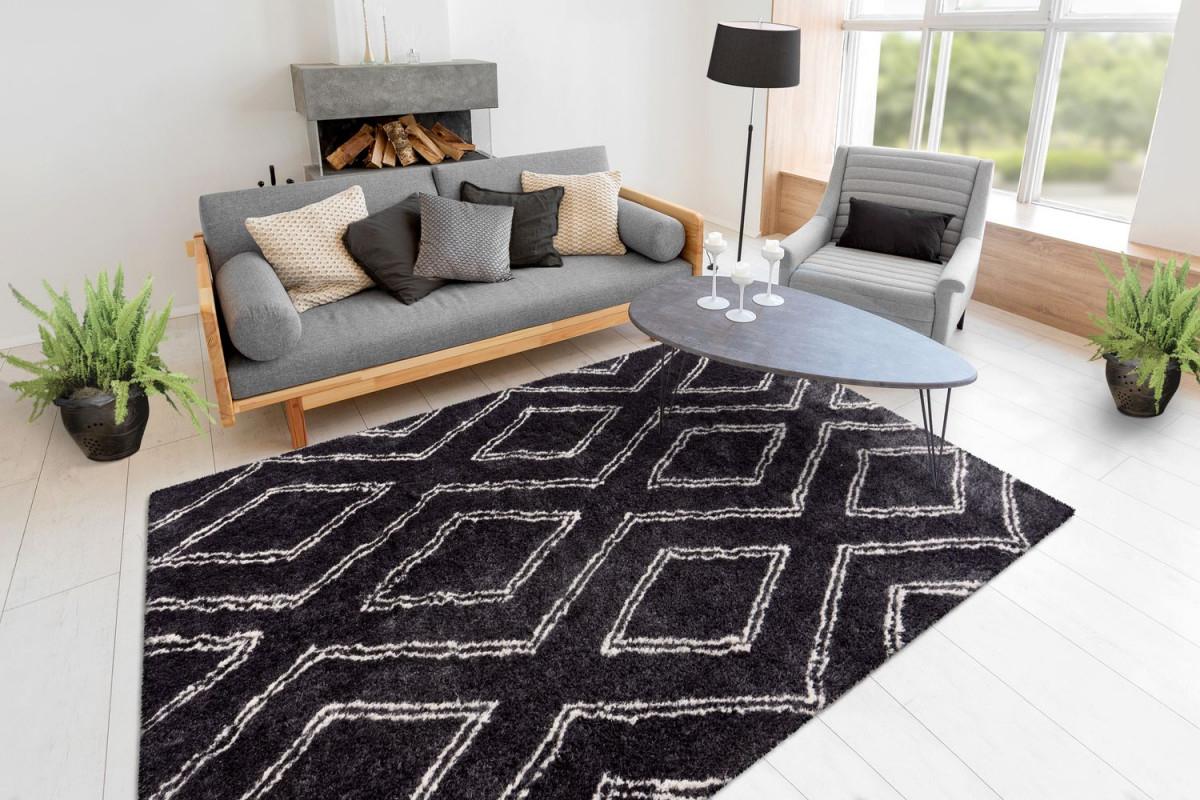 Shaggy Teppich Hochflor Berber Rauten Design Modern Wohnzimmer Teppiche  Schwarz Wohnzimmerteppich Esszimmerteppich Teppichläufer Flurläufer von Wohnzimmer Teppich Schwarz Bild
