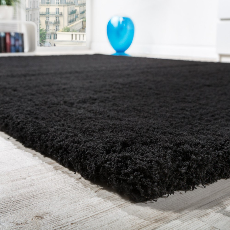 Shaggy Teppich Micro Polyester Wohnzimmer Teppiche Elegant Hochflor Schwarz von Wohnzimmer Teppich Schwarz Photo