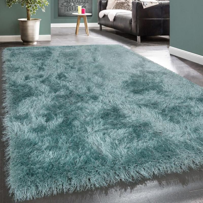 Shaggy Teppich Uni Türkis von Flauschiger Teppich Wohnzimmer Photo