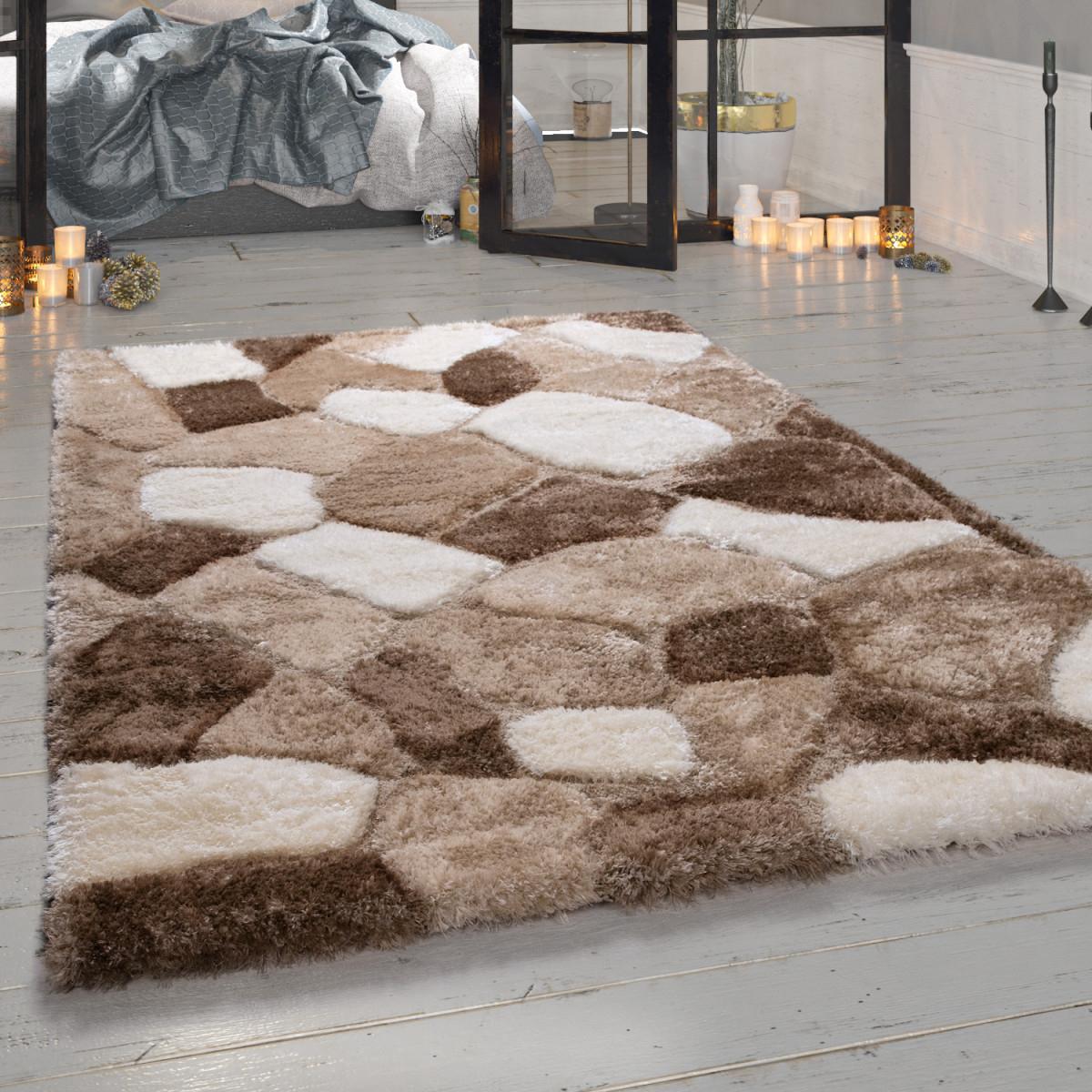 Shaggy Teppich Wohnzimmer Beige Hochflor Stein Muster Kuschelig Weich von Teppich Wohnzimmer Hochflor Bild