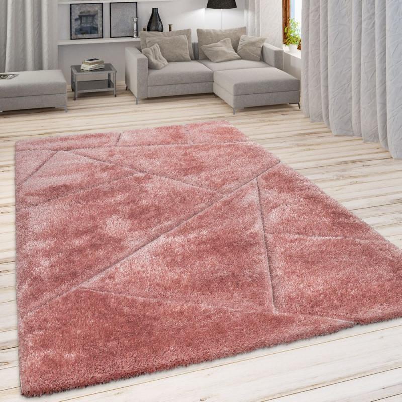 Shaggyteppich Hochflor Geometrisches Muster von Wohnzimmer Teppich Altrosa Bild