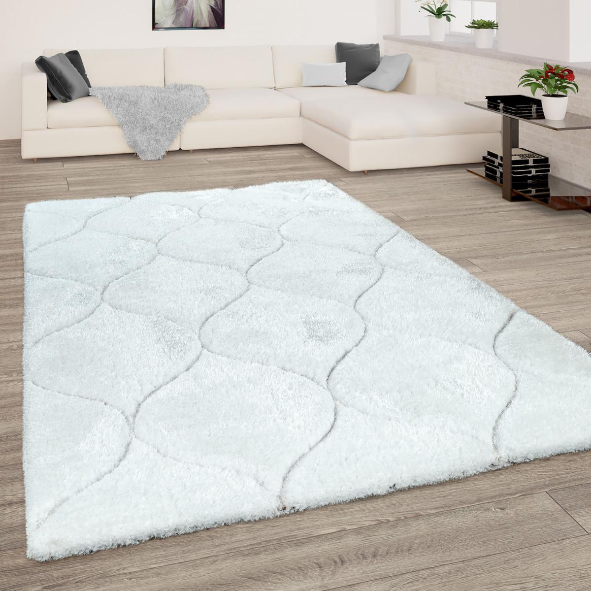 Shaggyteppich Wohnzimmer Weiß Hochflor Weich Kuschelig 3D Design Wellen  Muster von Teppich Wohnzimmer Weiß Bild