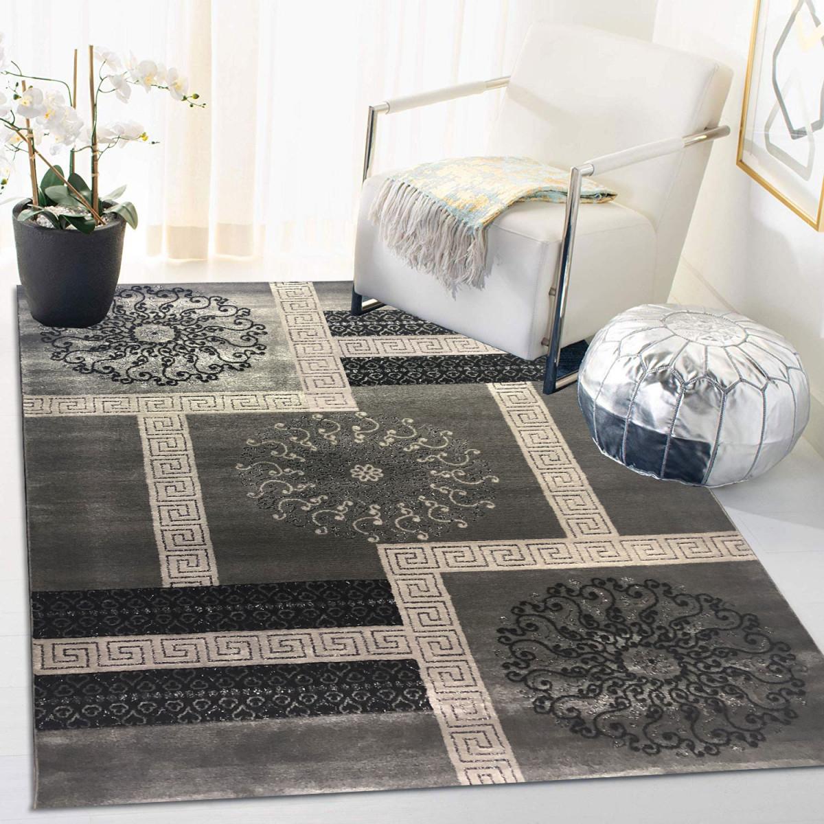 Siela Teppich Wohnzimmer Graukurzflor Teppich Grauer Küchenteppich  Teppiche Für Schlafzimmer von Grauer Teppich Wohnzimmer Bild
