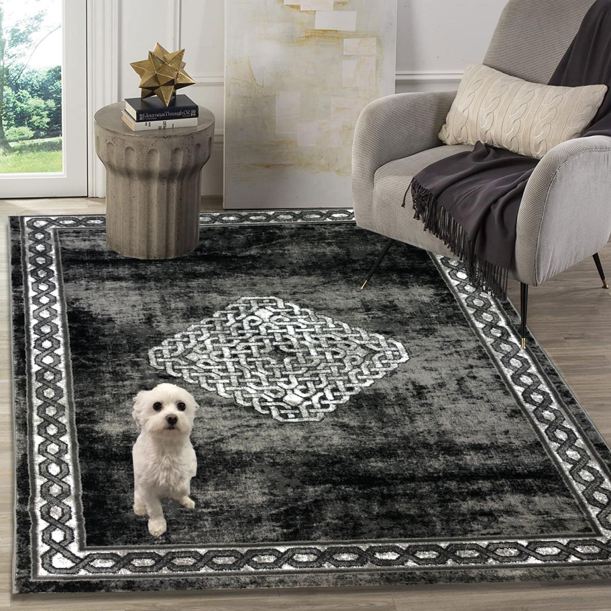 Siela Teppich Wohnzimmer Graukurzflor Teppich Grauer Küchenteppich  Teppiche Für Schlafzimmer von Grauer Teppich Wohnzimmer Photo