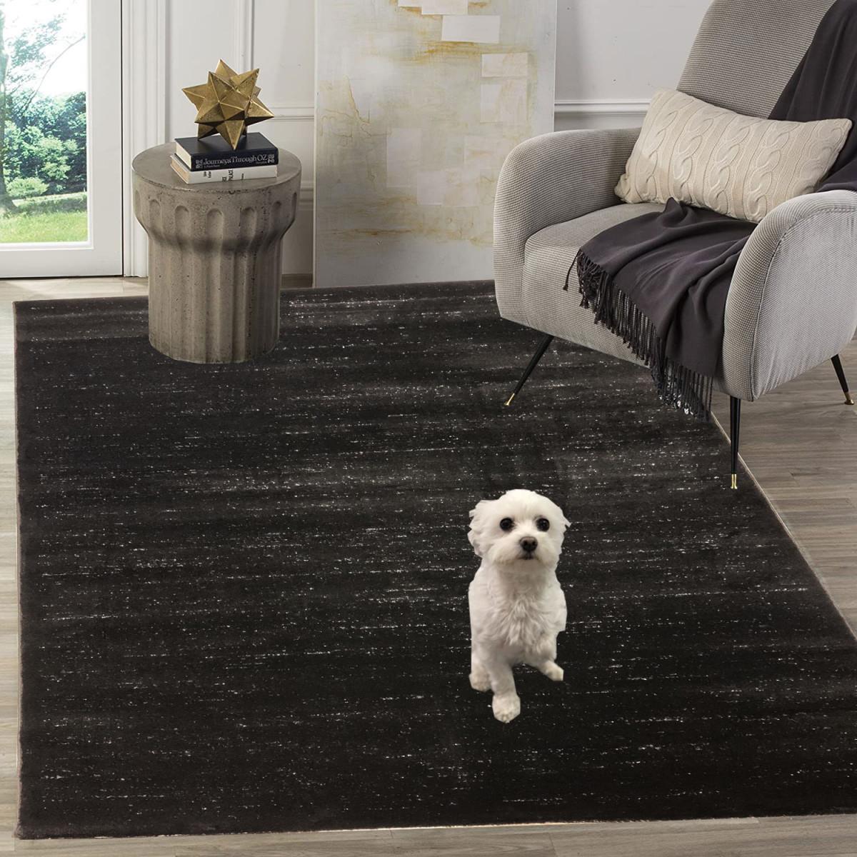 Siela Teppich Wohnzimmer Schwarzkurzflor Teppich Küchenteppich Teppiche  Für Schlafzimmer von Teppich Wohnzimmer Schwarz Bild