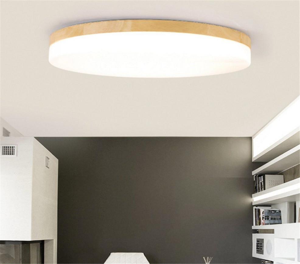 Sjun Deckenleuchte Holz Wohnzimmer Lampe Rund Flach von Wohnzimmer Lampe Flach Photo