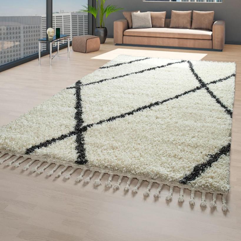 Skandi Teppich Beige Wohnzimmer Hochflor Rauten Muster Skandinavisch  Fransen von Wohnzimmer Teppich 140X200 Bild