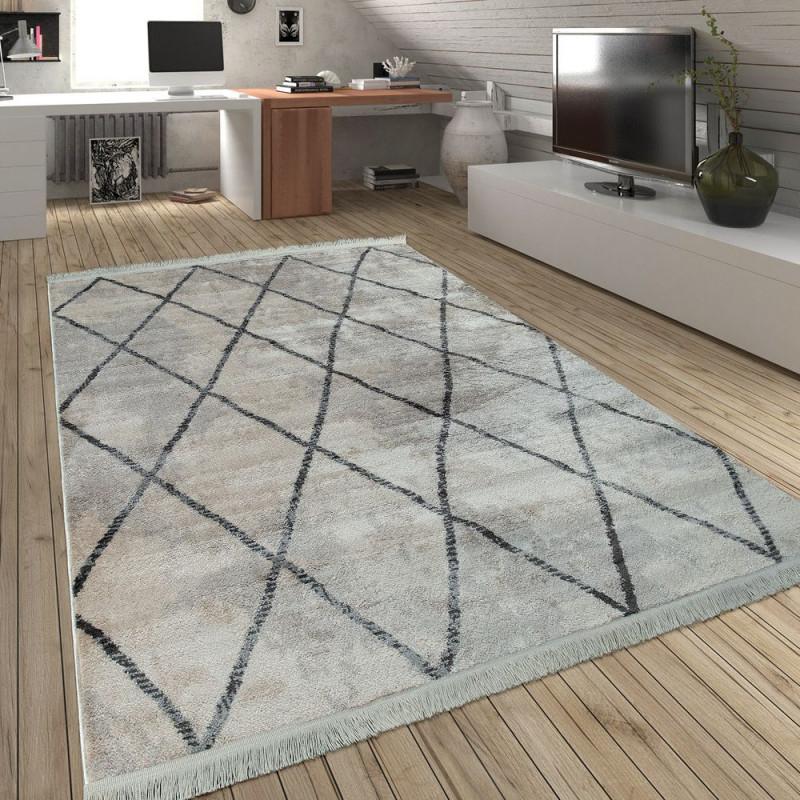 Skandi Teppich Wohnzimmer Rauten Fransen Muster von Teppich Wohnzimmer Skandinavisch Bild