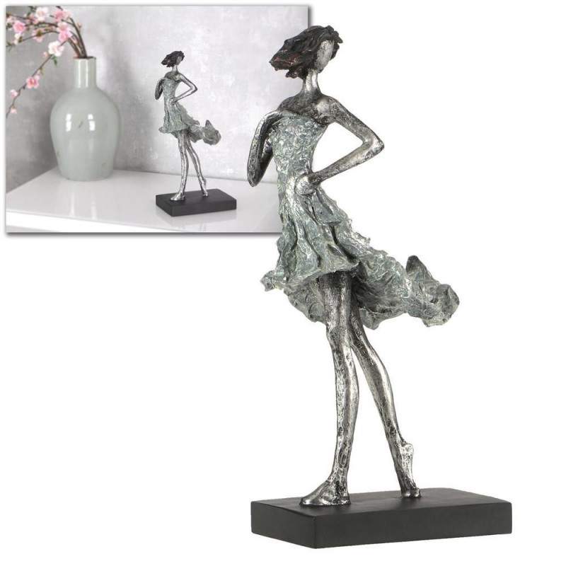 Skulptur Modern Frau Sommerwind Deko 35Cm Silber Abstrakt von Moderne Skulpturen Wohnzimmer Bild