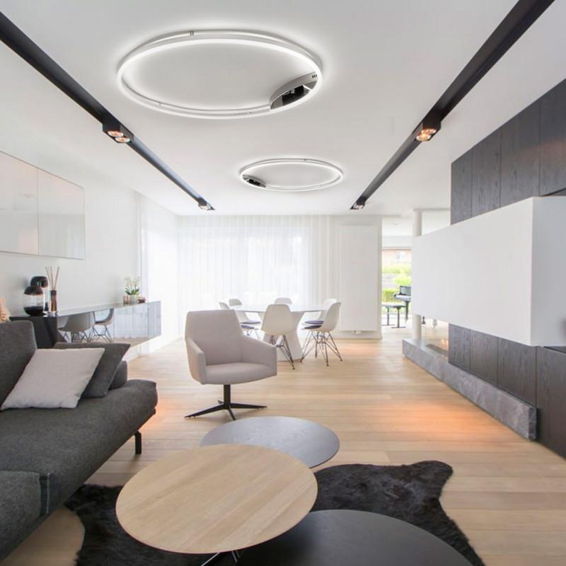 Sluce Pro Leddeckenleuchte Ring M Dimmbar Ø 60Cm In Chrom Wohnzimmer Ring  Deckenlampe von Deckenleuchte Für Wohnzimmer Bild