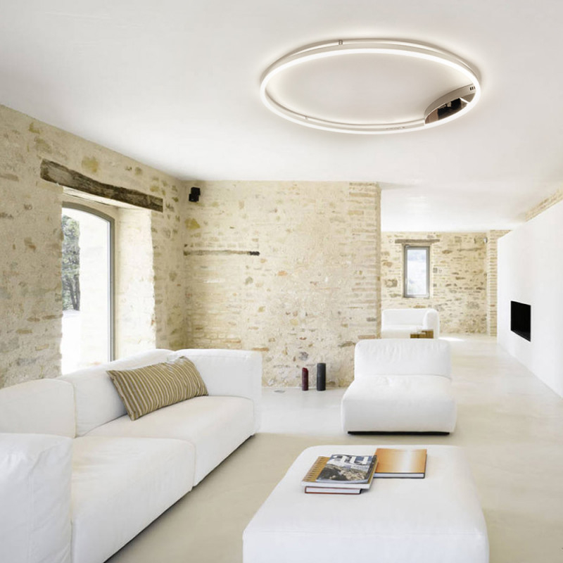 Sluce Pro Leddeckenleuchte Ring Xl Dimmbar Ø 100Cm In Chrom Wohnzimmer  Ring Deckenlampe von Deckenleuchte Für Wohnzimmer Bild