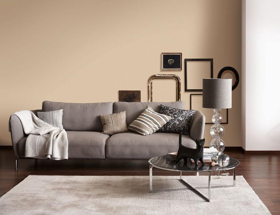Sofa Und Wanregal Vor Wand In Trendfarbe Sand  Schöner von Schöner Wohnen Bilder Wohnzimmer Photo