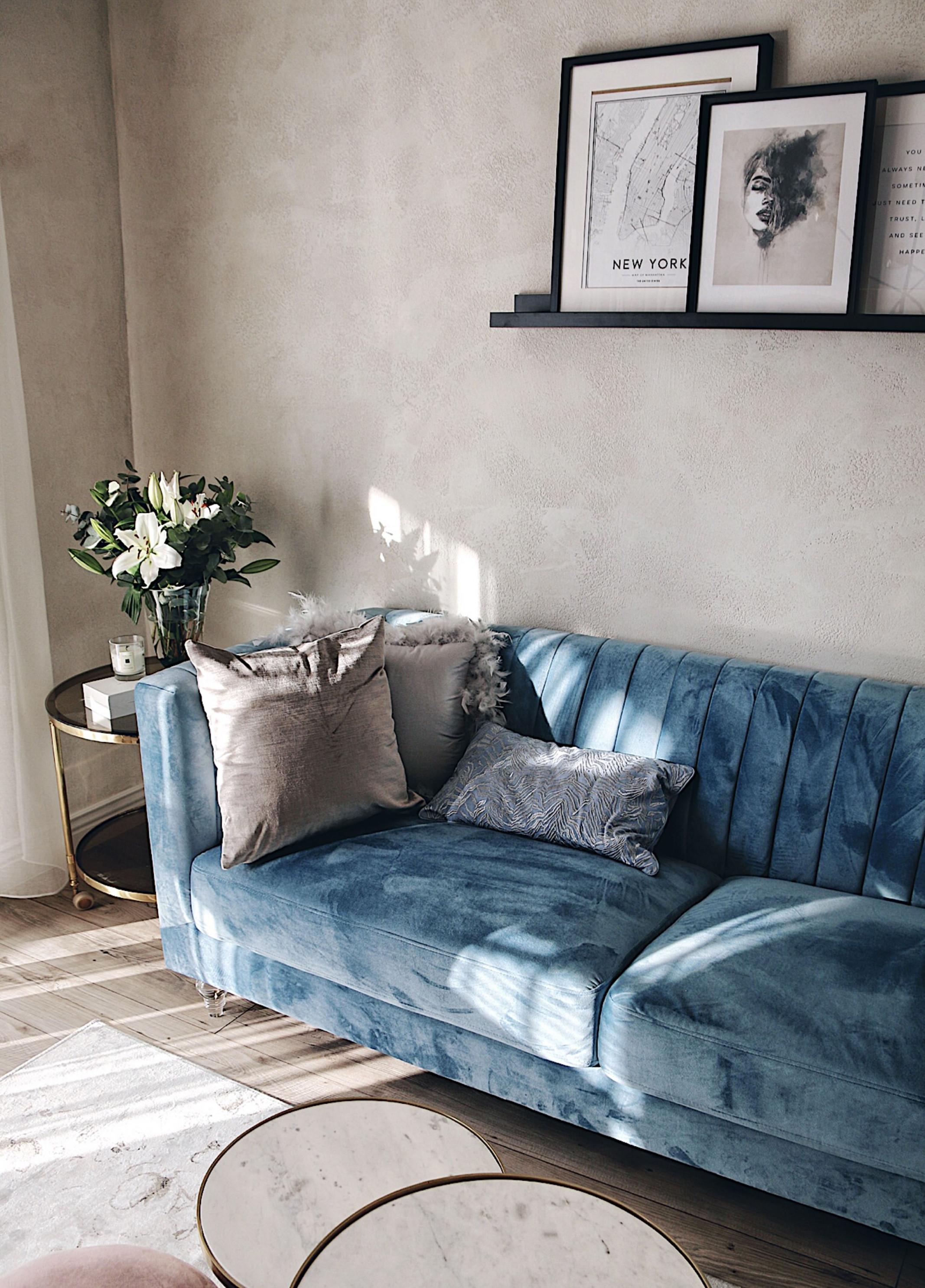 Soffa Sammet Ljusblå Arvika  Einrichten Und Wohnen von Deko Hellblau Wohnzimmer Bild