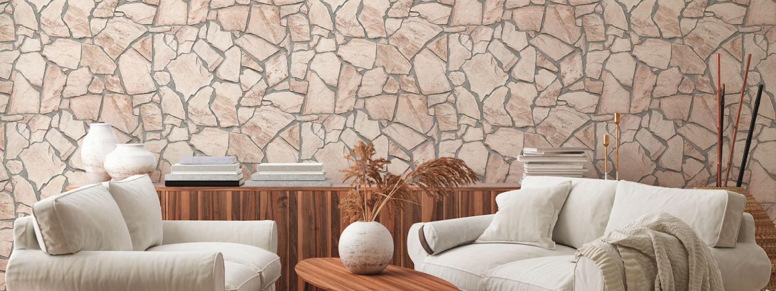 Steinoptik • Beliebteste Materialoptik Für Tapeten von Stylische Tapeten Wohnzimmer Bild