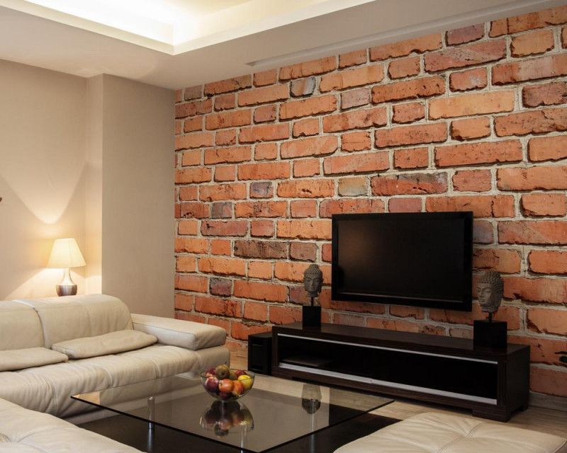 Steintapete Inspiration Für Wandgestaltung Bei Couch von Wohnzimmer Ideen Mit Steintapete Bild