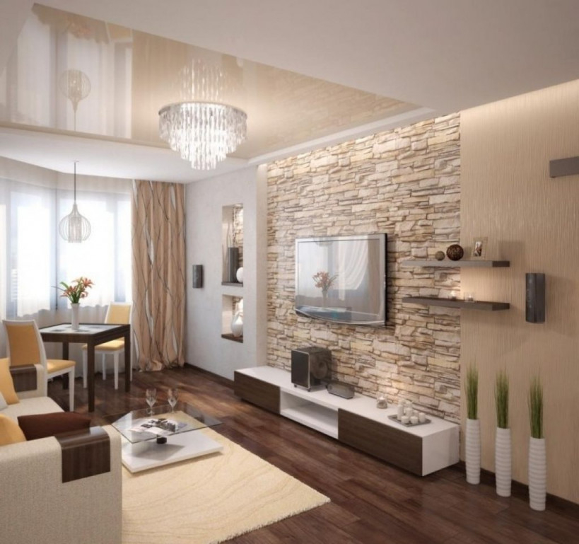 Steinwand Wohnzimmer Modern Steinwand Wohnzimmer Modern von Wohnzimmer Gestalten Modern Photo