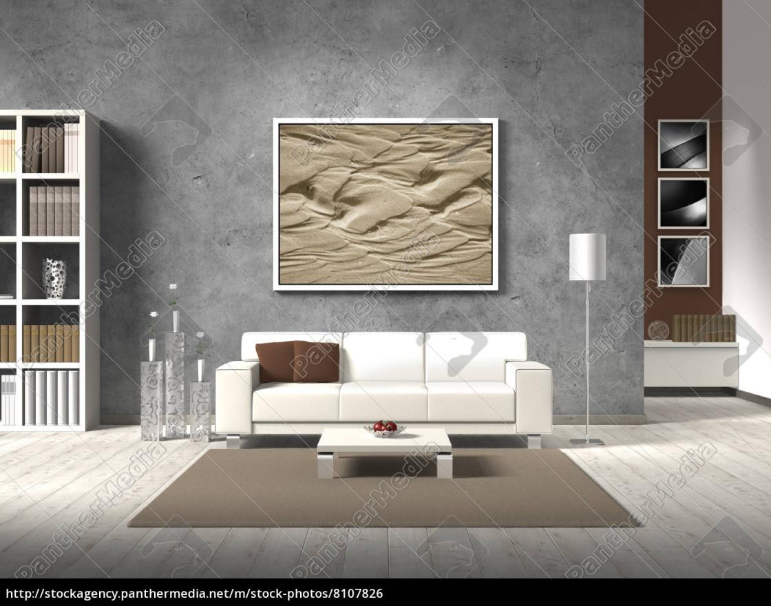 Stock Bild 8107826  Modernes Wohnzimmer Mit Weißem von Modernes Wohnzimmer Bilder Bild