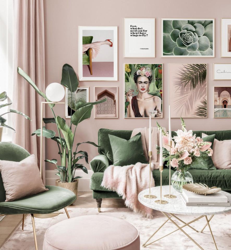 Stylische Bilderwand Rosa Wohnzimmer Frida Poster Zitat Goldrahmen von Stylische Bilder Wohnzimmer Photo
