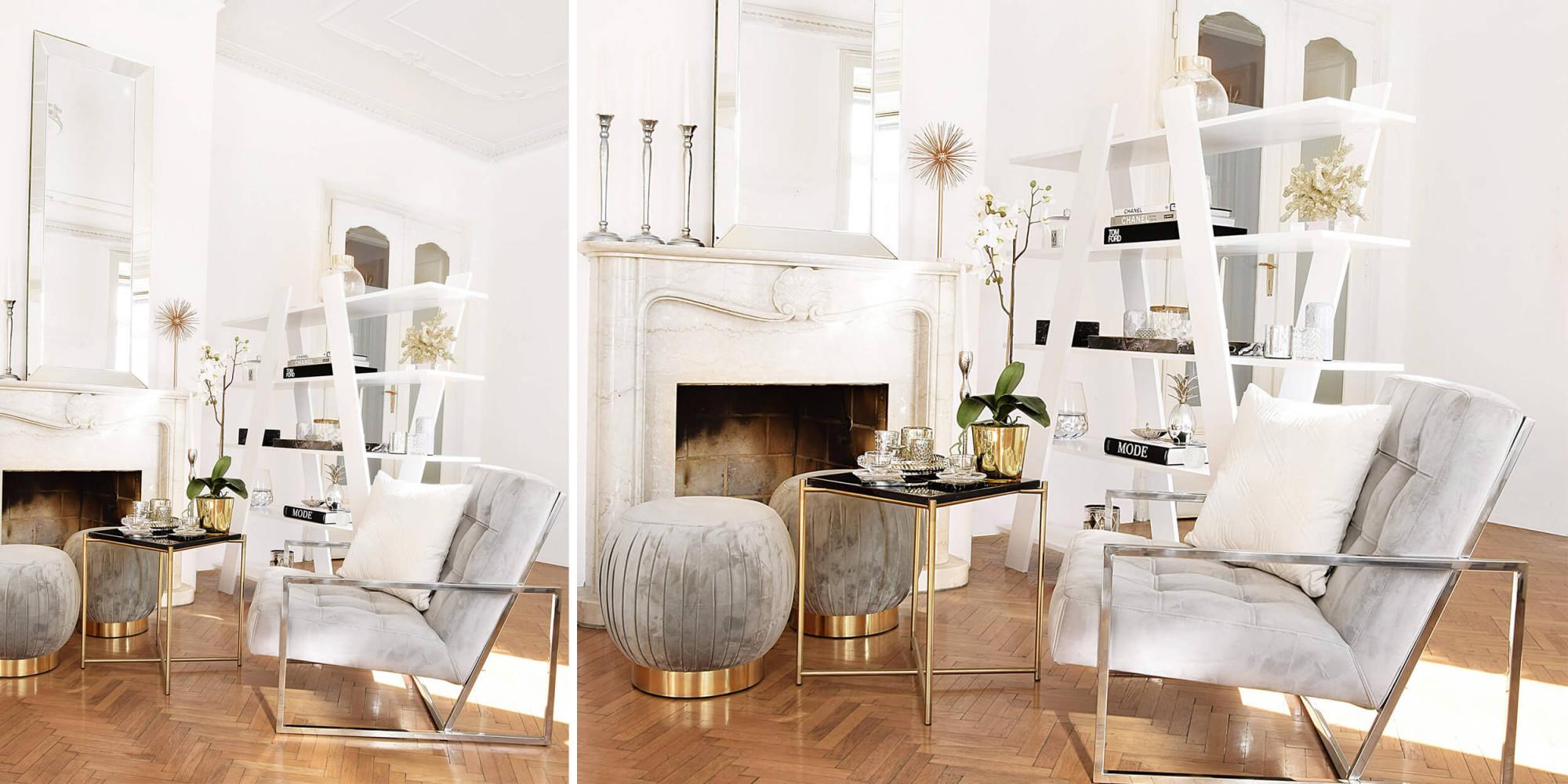 Stylische Wohnzimmerdeko  Ein Trendiger Samtstuhl von Goldene Deko Wohnzimmer Photo