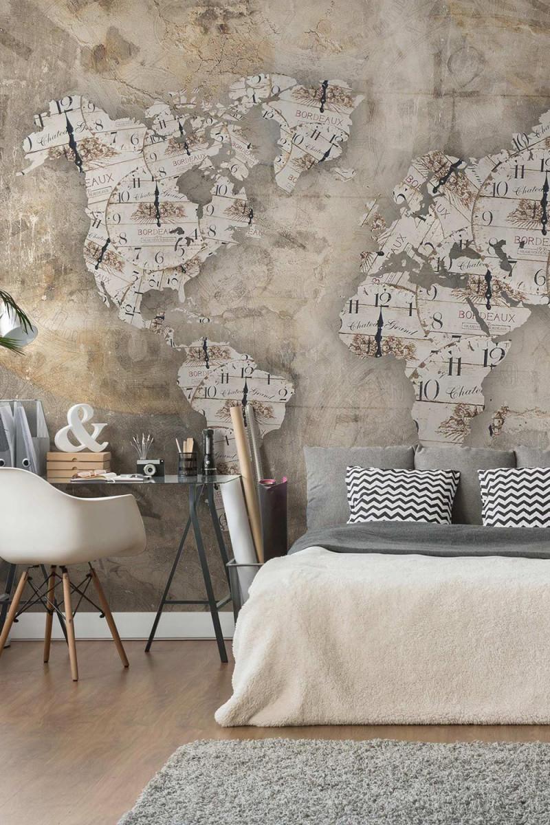 Tapete Betonoptik  Shabby Uhren Weltkarte  Vlies von Schöne Tapeten Wohnzimmer Bild