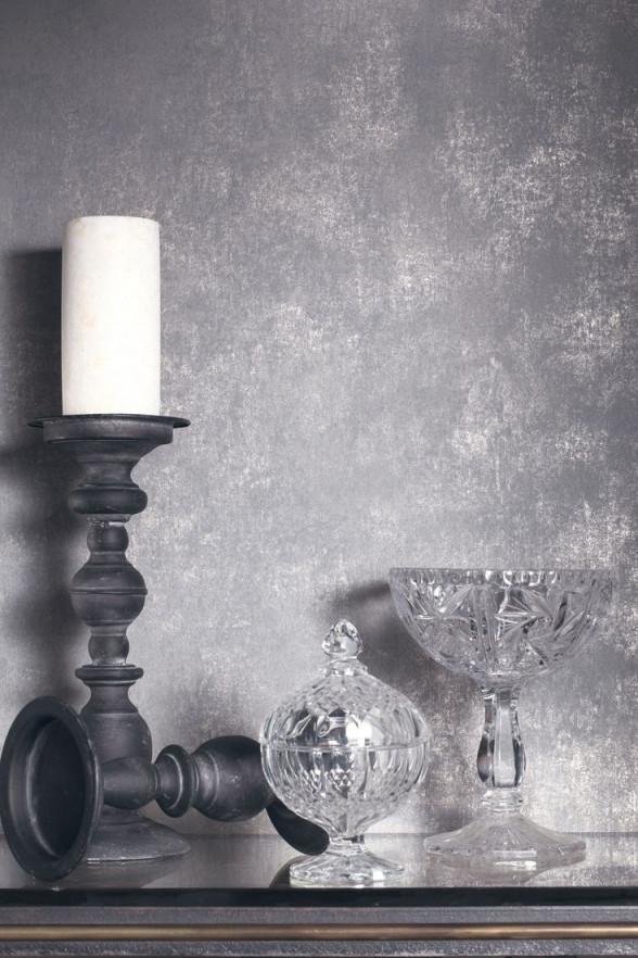 Tapete Deeper Grau Von Casadeco  Tapete Grau Wohnzimmer von Tapeten Ideen Wohnzimmer Grau Bild