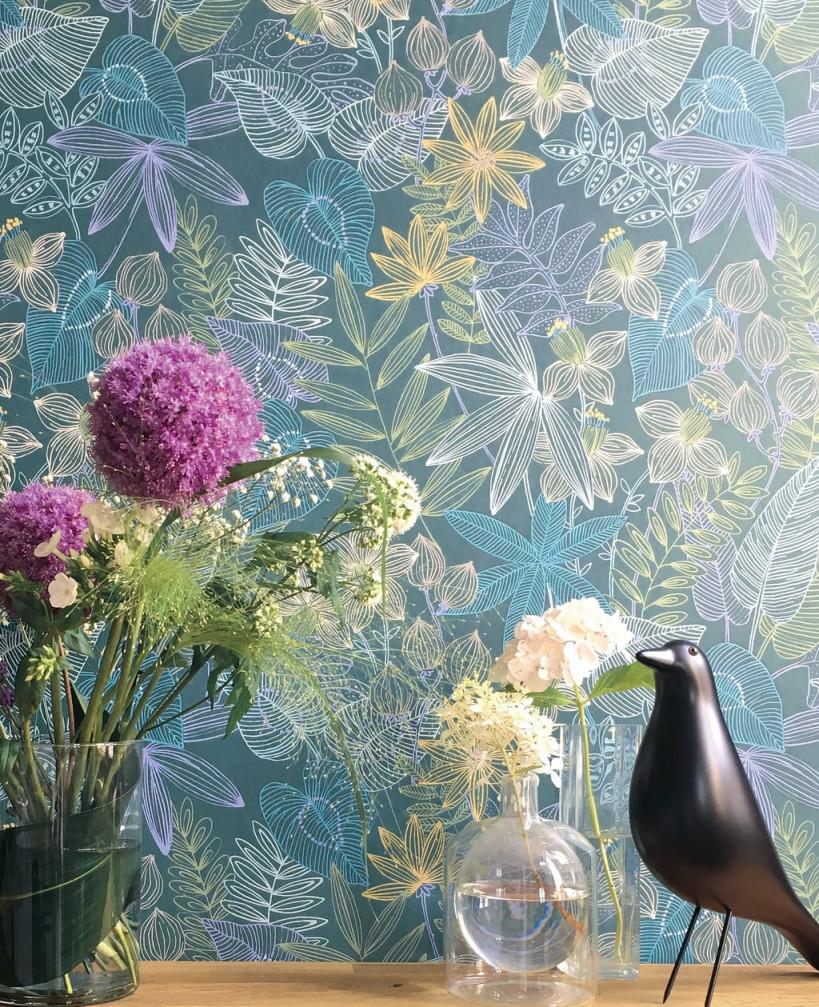 Tapete Evergreen Blau von Bunte Tapeten Wohnzimmer Photo