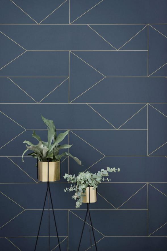 Tapete Lines Wallpaper Blau  Klare Linien Feine Eleganz von Blaue Tapeten Wohnzimmer Photo