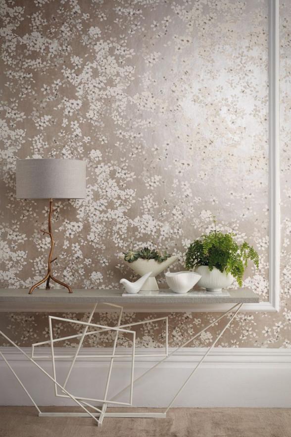 Tapete Tiami Perlino Von Romo Aus Der Kollektion Floris von Moderne Vliestapeten Wohnzimmer Photo