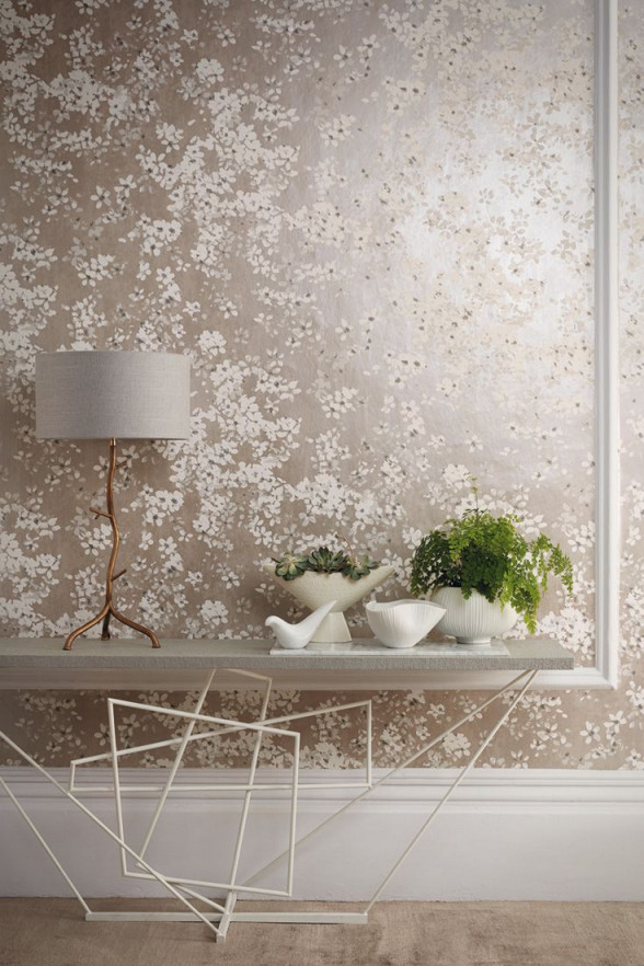 Tapete Tiami Perlino Von Romo Aus Der Kollektion Floris von Tapeten Im Wohnzimmer Bild