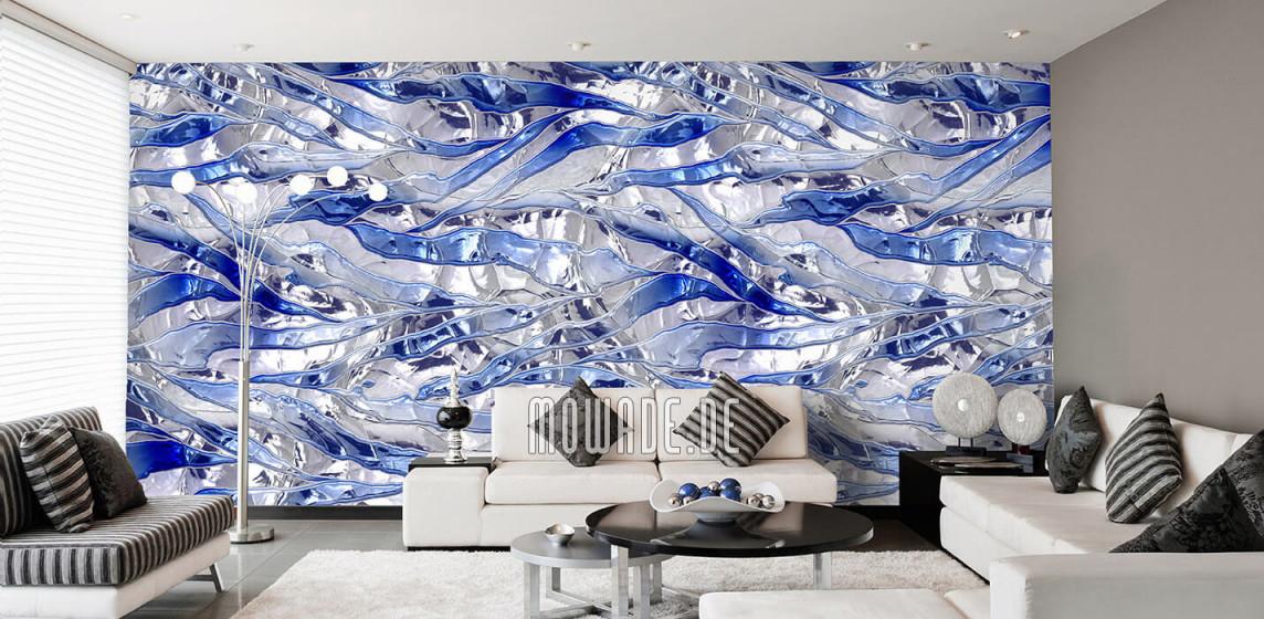 Tapeten Blau – Design Von Mowade® von Blaue Tapeten Wohnzimmer Bild