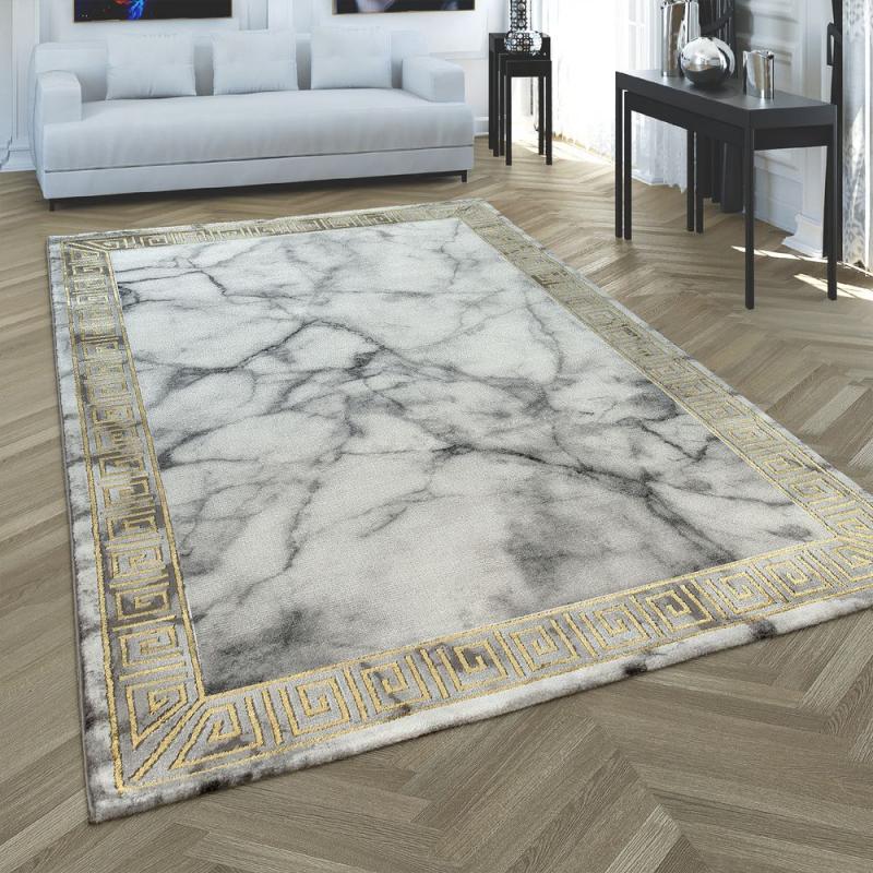 Teppich 3Dbordüre Marmorlook Grau Gold  Teppich von Teppich Vorleger Wohnzimmer Bild