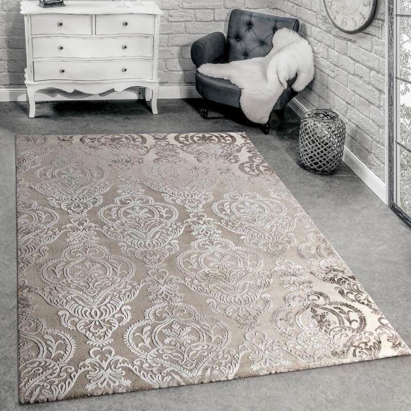 Teppich 3Deffekt Orientalische Ornamente Creme von Teppich Wohnzimmer Groß Bild