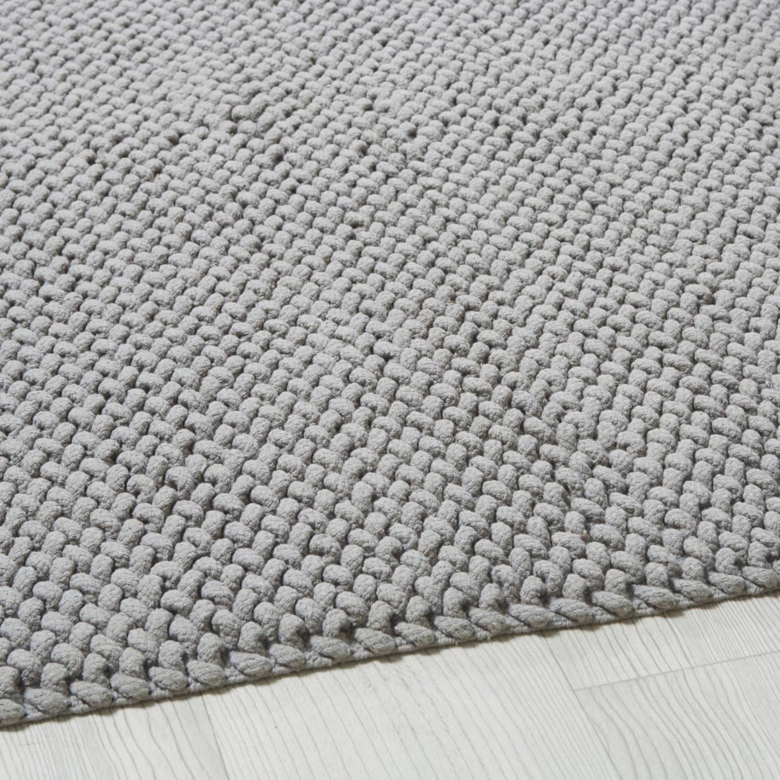 Teppich Aus Gewebter Baumwolle In Grau 140X200 Noe  Maisons von Wohnzimmer Teppich 140X200 Photo