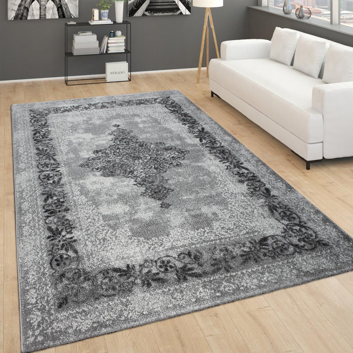 Teppich Für Wohnzimmer Vintagekurzflor Mit Orientmuster Meliert Grau von Teppich Wohnzimmer Vintage Photo