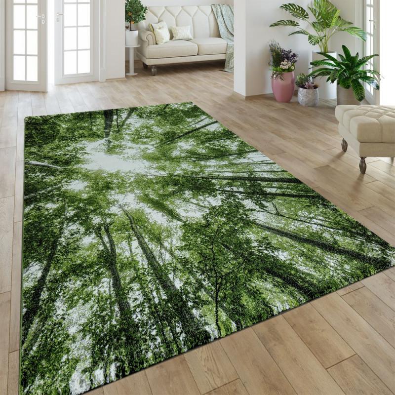 Teppich Greenery Natur Look Wald Grün von Wohnzimmer Teppich Grün Bild
