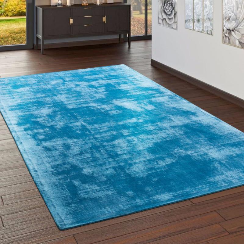 Teppich Handgefertigt Vintage Türkis von Teppich Wohnzimmer Türkis Bild