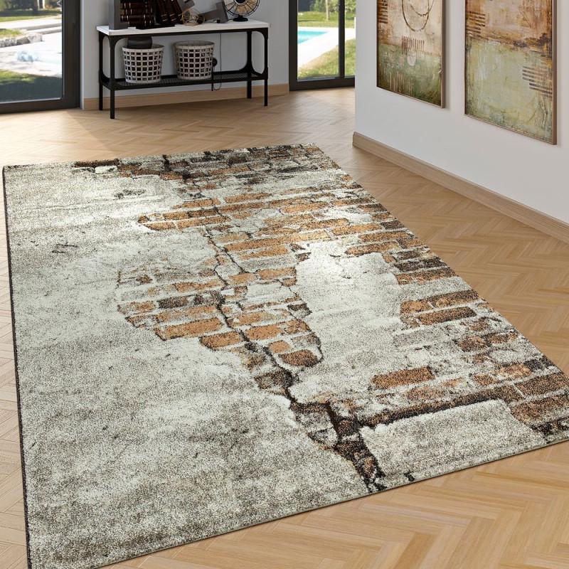 Teppich Hoch Tief Effekt Backstein Optik Braun  Teppich von Teppich Wohnzimmer Braun Bild