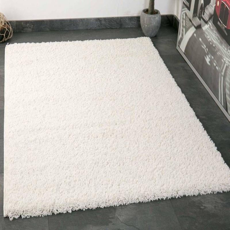 Teppich Hochflor Shaggy Teppiche Langflor Creme Weiss von Teppich Pflegeleicht Wohnzimmer Bild