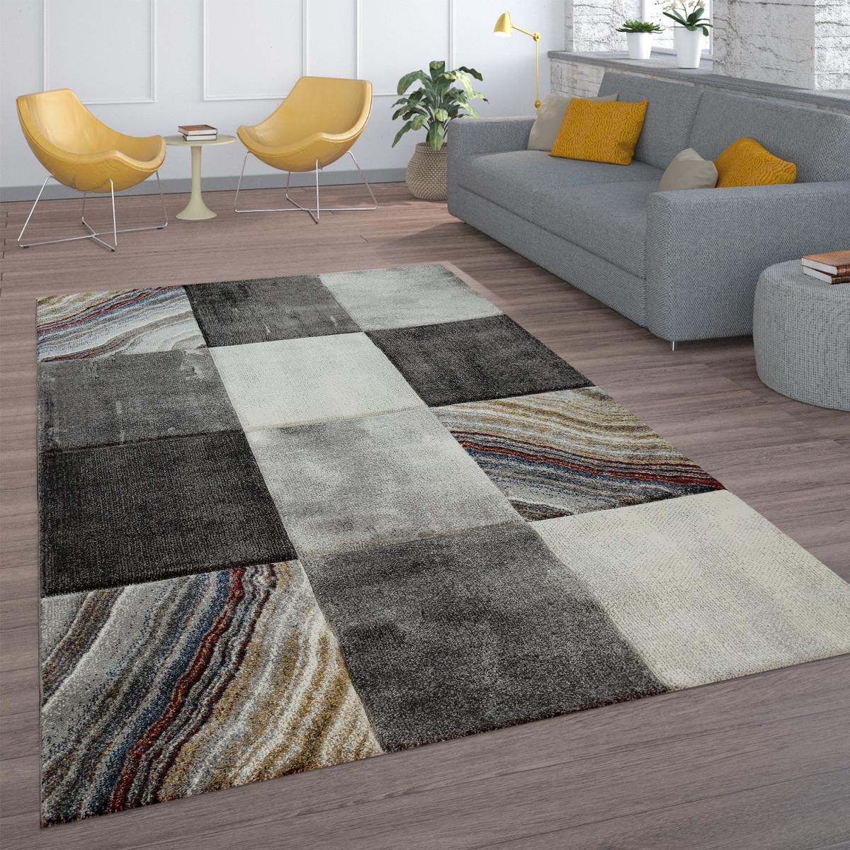 Teppich Kurzflor Grau Creme Modern Blumen Blätter Karo von Teppich Vorleger Wohnzimmer Bild