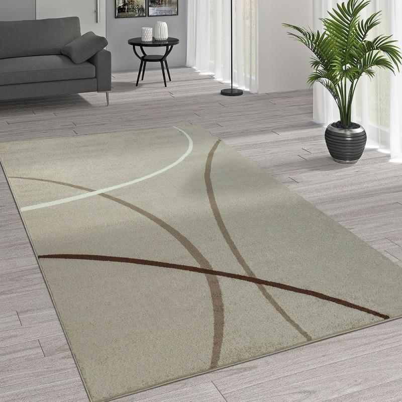 Teppich Kurzflor Wohnzimmer Linien Muster von Wohnzimmer Teppich Kurzflor Bild