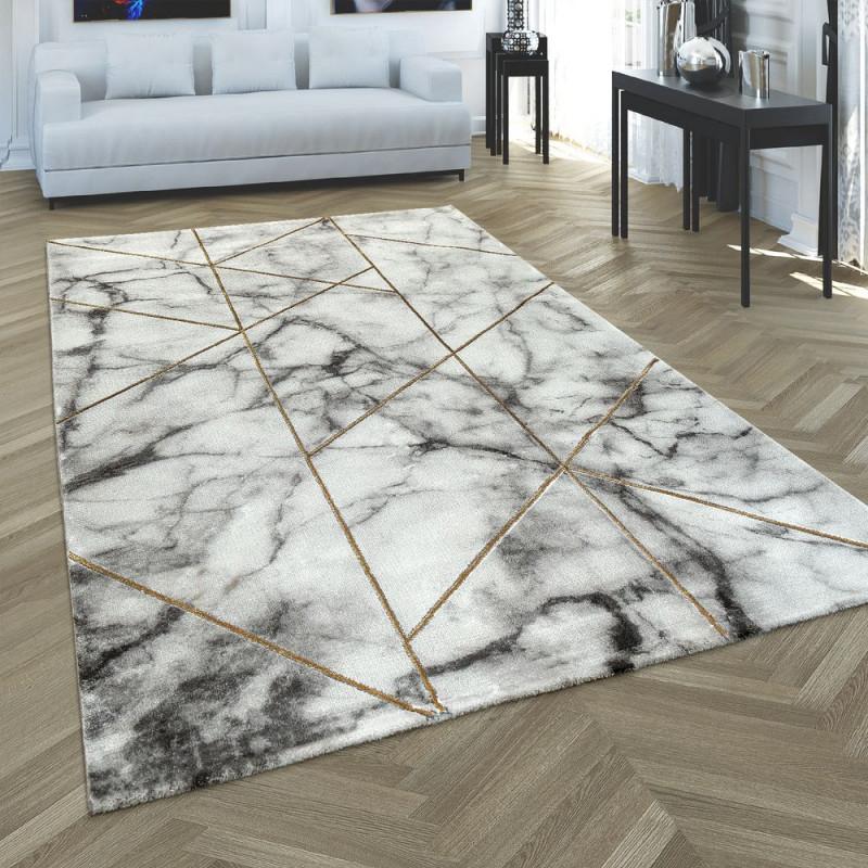 Teppich Marmorlook 3Dmuster Grau Gold von Grauer Wohnzimmer Teppich Bild